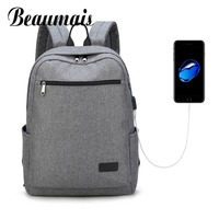 Beaumais New Men Backpack USB Charge Men Backpack 15 Laptop Backpack Large Capacity Casual Waterproof Backpack
