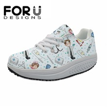 цены FORUDESIGNS Casual Women Cartoon Nurse Flat Shoes 3D Prints Spring Height Increasing Female Slimming Shoes Swing Shoes For Girls