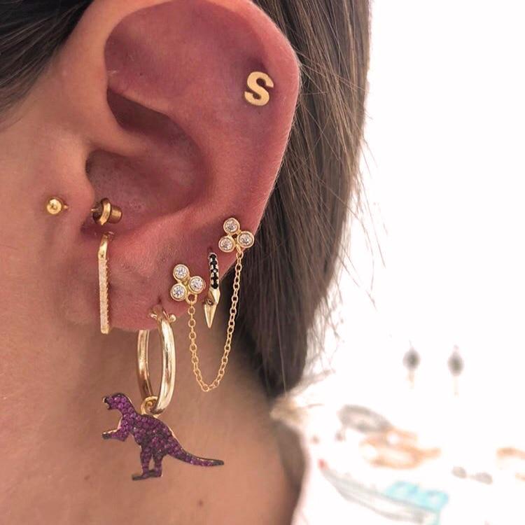 TOP Botton cz bar stud arrond ear design european women multi piercing delicate minimal jewelry 925 sterling silver bar earring
