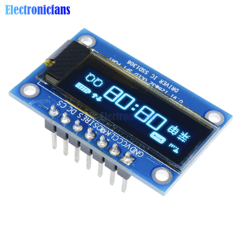 0.91 Inch 12832 128x32 Blue OLED LCD Display SSD1306 Driver IC DC 3.3V-5V SPI For Arduino PIC DIY Module