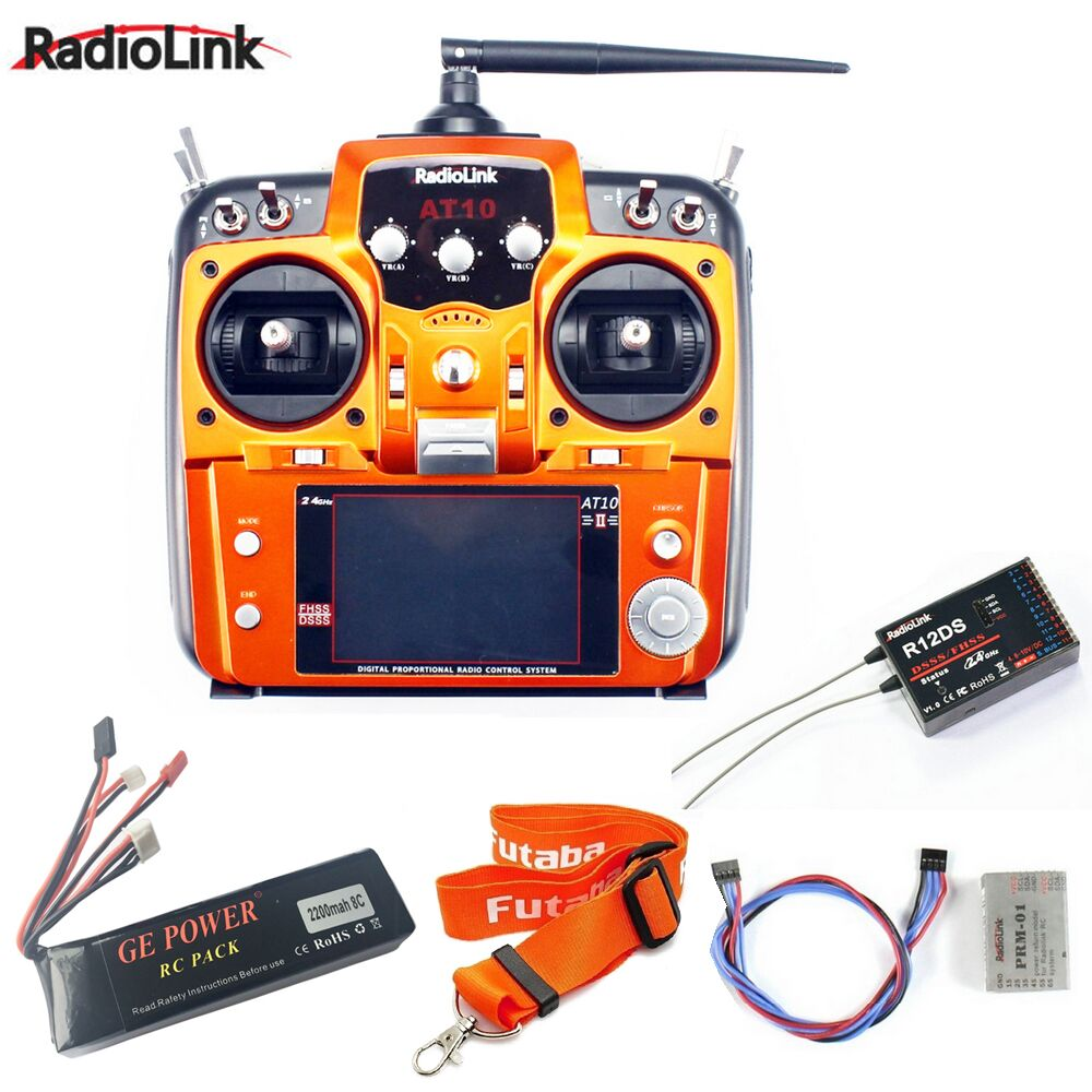1pcs RadioLink AT10 II 2.4Ghz 10CH RC Transmitter with R12DS Receiver PRM-01 Voltage Return Module for RC Helicopter Quadcopter radiolink at10 ii rc transmitter 2 4g 12ch remote control system with r12ds receiver for rc helicopter