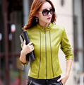 Кожаная Куртка Женщин Весной И Осенью 2017 Плюс Размер 4XL Женщин Кожаный Clothing Тонкий Верхней Одежды женщин Способа Пальто
