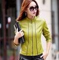 Chaqueta de cuero mujer primavera y otoño 2017 más tamaño 4xl womens clothing delgado prendas de vestir exteriores de cuero abrigos de la mujer moda
