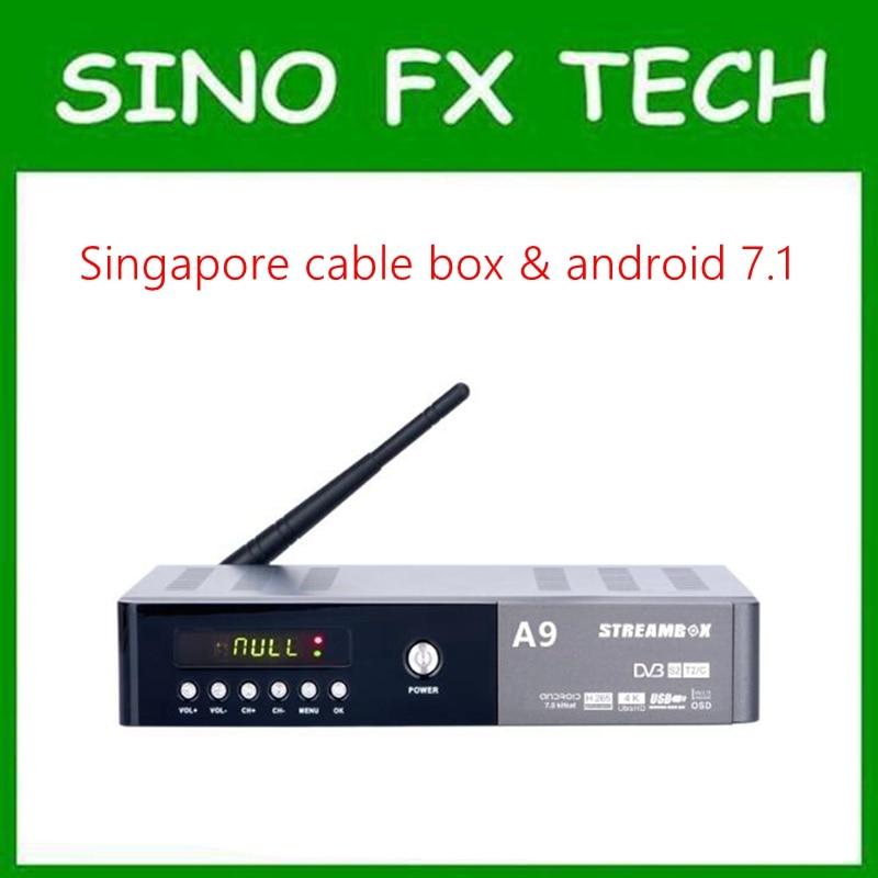 Singapore starhub tv box streambox A9 starhub DVB-C + Android (Kodi 4K H.265) combo tv box watch sports channel cost effective singapore starhub tv box freesat v7 cable