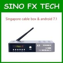 Cingapura starhub caixa tv streambox A9 starhub DVB-C + Android (Kodi 4 K H.265) combo relógio caixa de tv canal de esportes