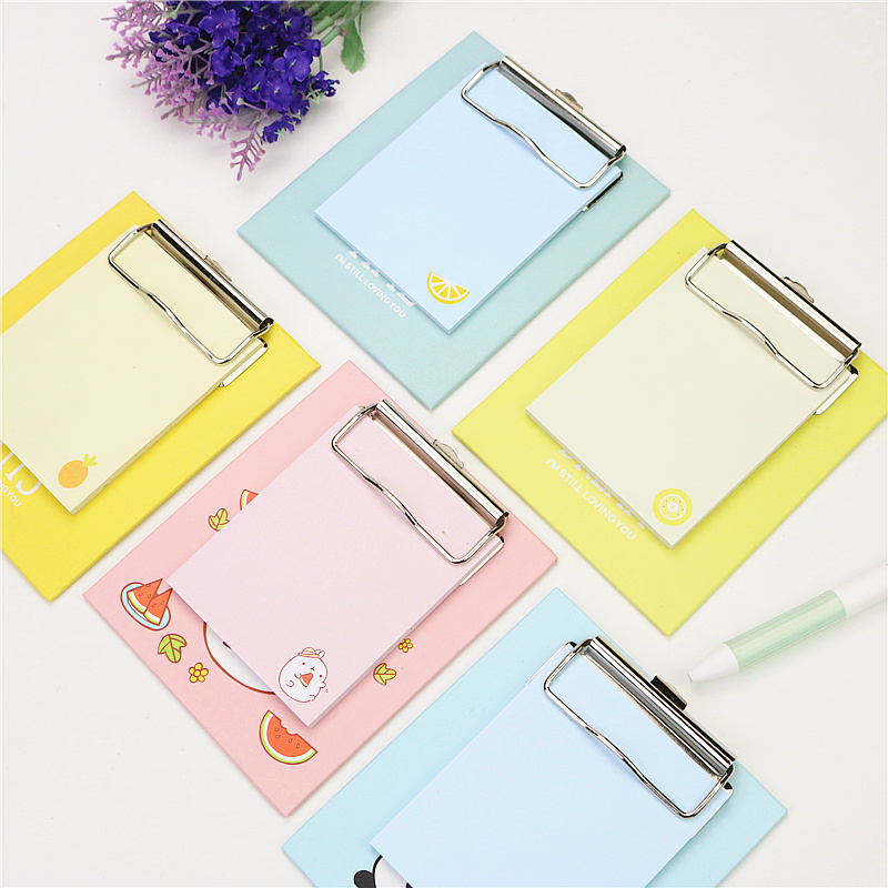 New Style Cute With Clip Board Memo Pad Animal Fruit Sticky Notes Kawaii Stationery