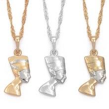 Anniyo маленькая Древняя египетская Королева ожерелье подвесной светильник золотой цвет/серебро Египетский Нефертити голова портрет ювелирные изделия#005604