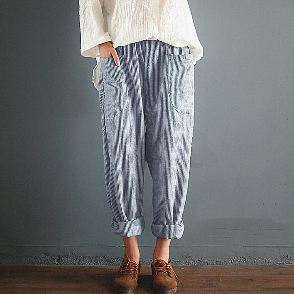 Fashion Women High Waist Elastic Long   Pants   Baggy Casual Loose Harem Maxi Trousers Summer Outdoor   Wide     Leg     Pants   New