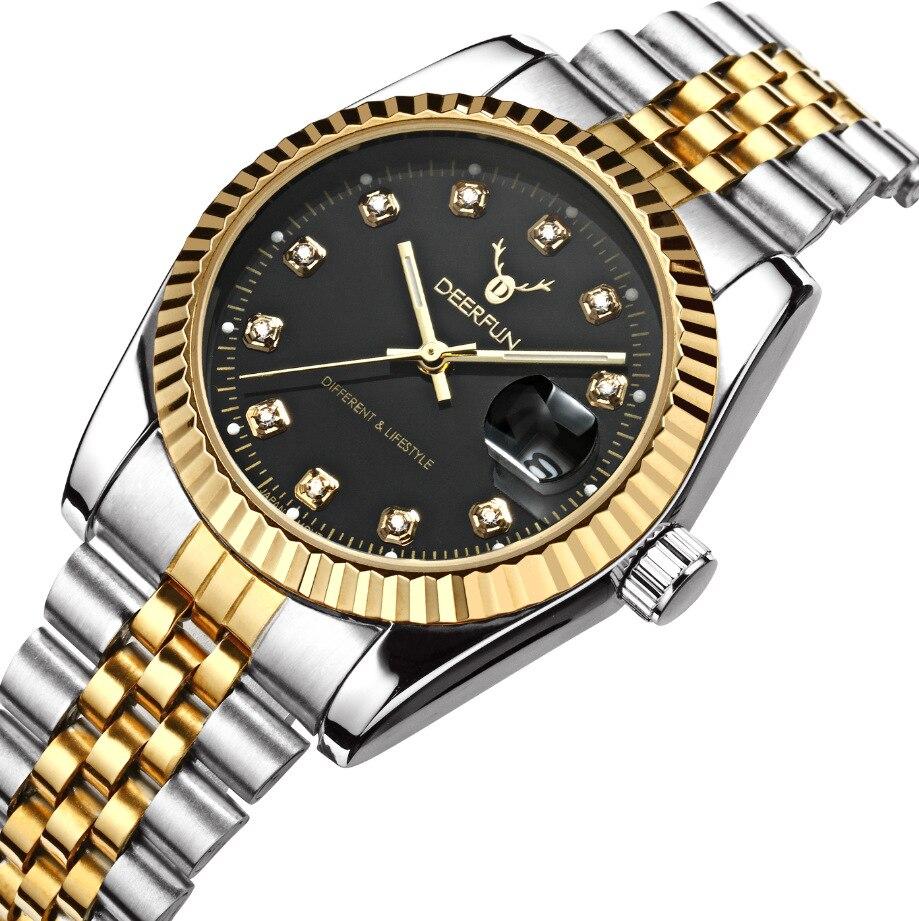 08f2cd28a0b Os homens assistir Deerfun negócios famosa marca ouro diamante calendário  de moda de luxo à prova d  água de quartzo relógio de pulso Relogio  masculino em ...