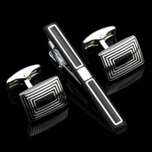 MMS High Quality Cuff links necktie clip for tie pin for men's gift Black tie bars cufflinks tie clip set Free Shipping