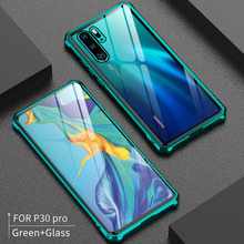 For Huawei P30 Pro Bumper P30Pro Case Aluminum Metal Frame with Clear Tempered Glass Back Cover for Lite Nova4