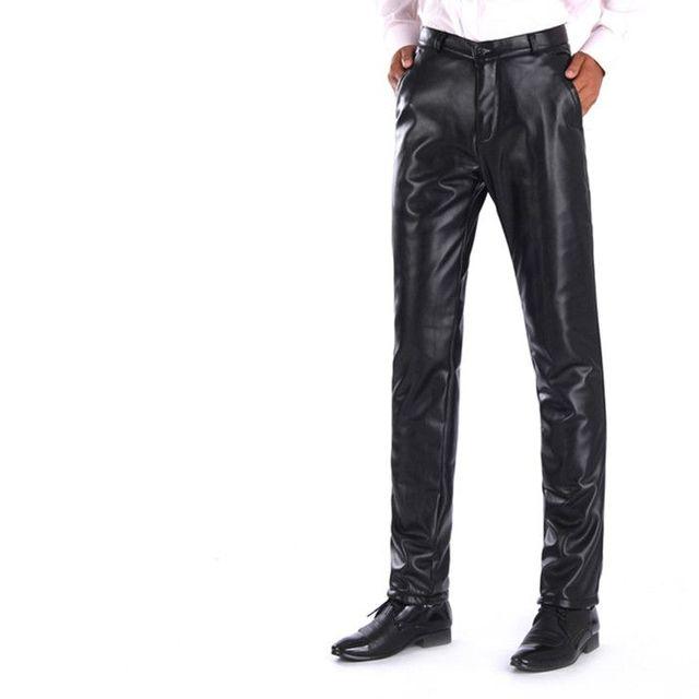 nuovo concetto 90855 5e58d US $25.2 30% di SCONTO|Moda inverno Addensare Pantaloni in pile Caldo Più  Velluto Faux Pantaloni di Pelle pu Uomo Moto Hiphop pantaloni pu Nero ...