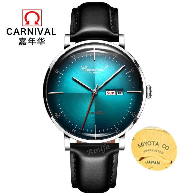 Carnival men watch luxury brand Miyota movemen automatic mechanical watches men genuine leather clock uhr kol