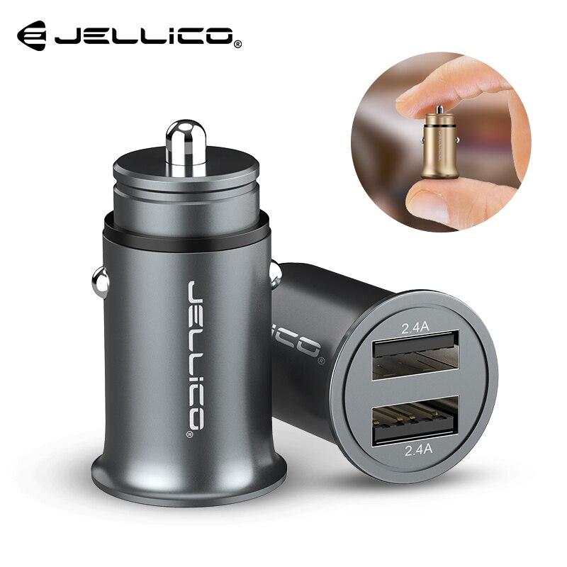Jellico Métal Mini USB Chargeur De Voiture Pour iPhone Xiaomi Tablet Double USB Voiture Chargeur de Téléphone Adaptateur 5 v 4.8A Rapide chargeur De Voiture-Chargeur