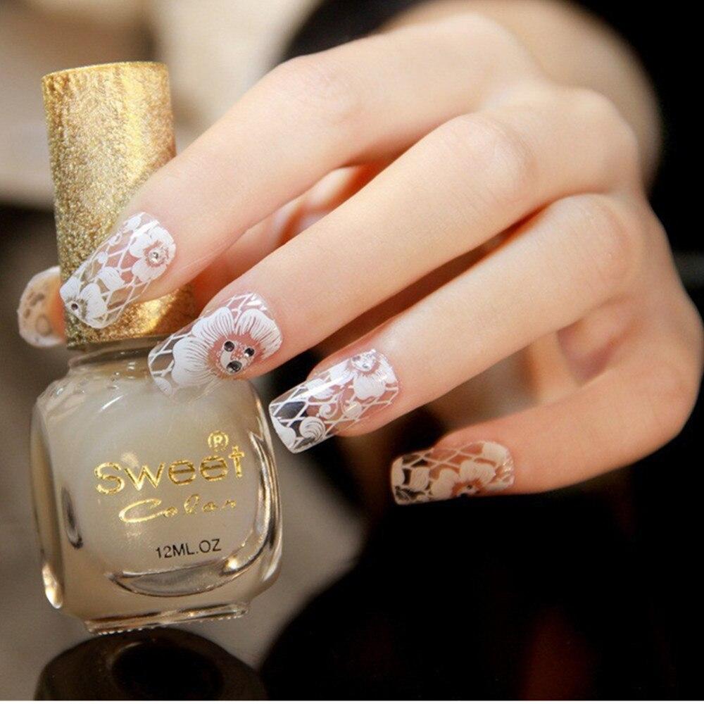 2016 New Fashion Nail Polish Sticker Manicure White Lace With ...
