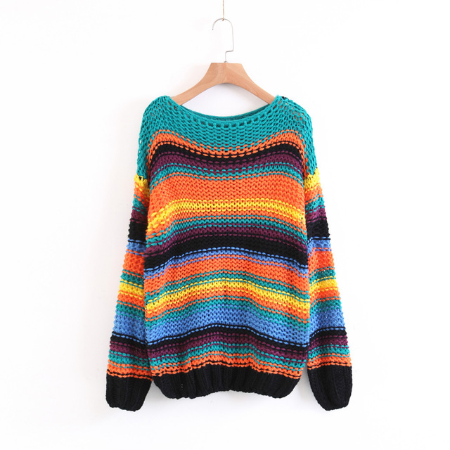 Women Sweaters Fall 2017 Fashion Oversized Sweater Vintage Knitted Rainbow Striped Pullover Tops