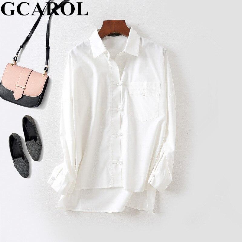 GCAROL 2019 Spring  Fall Turn Down Collar Women OL Work Shirt Asymmetric Length A Pocket Blouse Neat White Perfect Basics Tops
