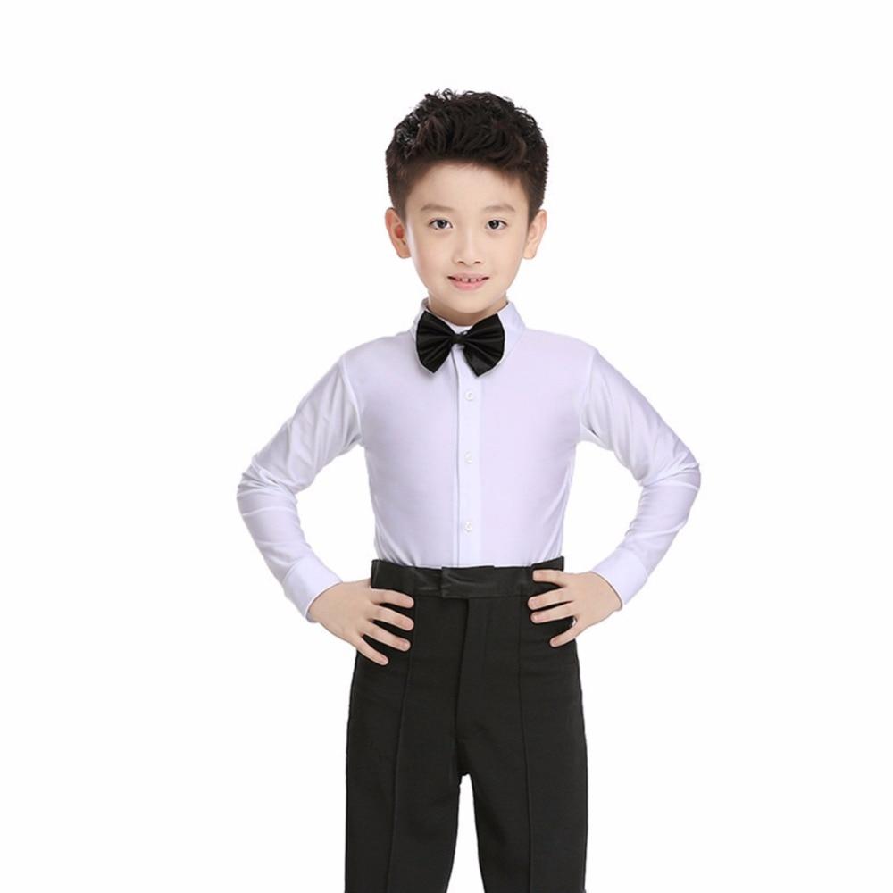 Популярная рубашка для занятий танцами в латинском стиле для детей, черно белые топы с длинными рукавами, одежда для школьников, хора, детей,