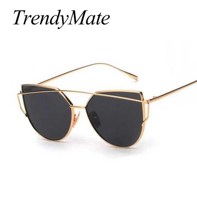 ca47697174863 ... Pink Cat Eye Sunglasses Women Classic Brand Designer Twin-Beams Metal  Frame Ladies Sun glasses ...