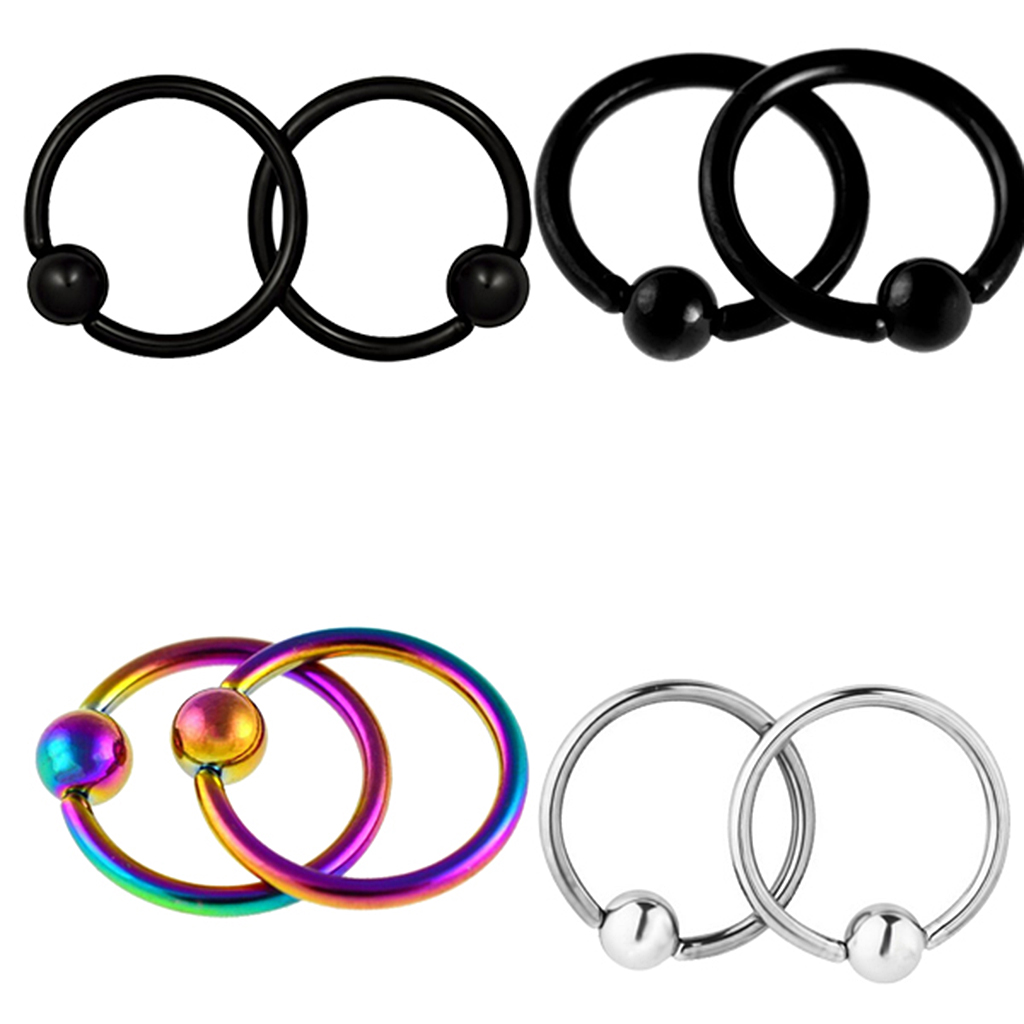4 Pairs Captive Bead Closure 16g Nose Ear Helix Tragus Lip Ring Stainless  Steel Hoop Body