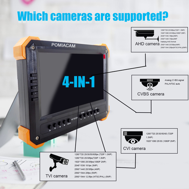 X41TAC AHD TVI CVI CCTV Tester 7inch LCD Audio Video Security CCTV Camera Tester 12V Output Test Monitor DHLfree shipping
