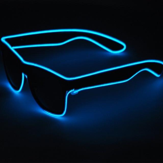 e55db5e67e7 100pcs Lots EL Wire Glow Sun Glasses Led DJ Bright Light Safety Light Up  Multicolor Frame led flashing sunglasses