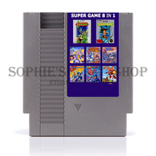 Super Game 8 In 1 Free Region Game Card For 72 Pin 8 Bit Game Player