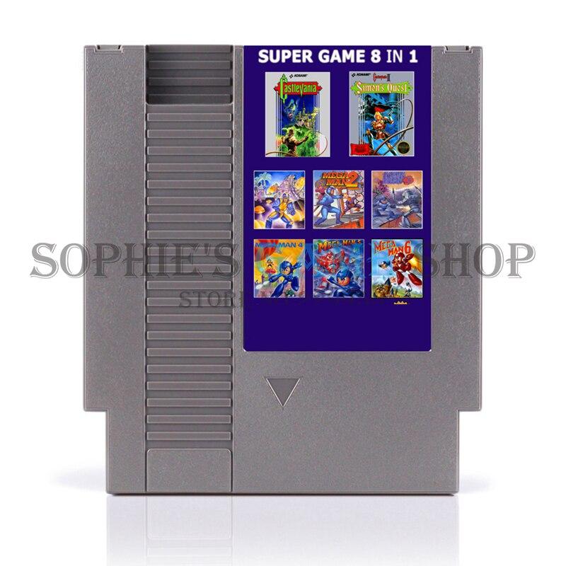 Super juego 8 en 1 tarjeta de juego de región gratis para 72 Pin 8 bits jugador de juego