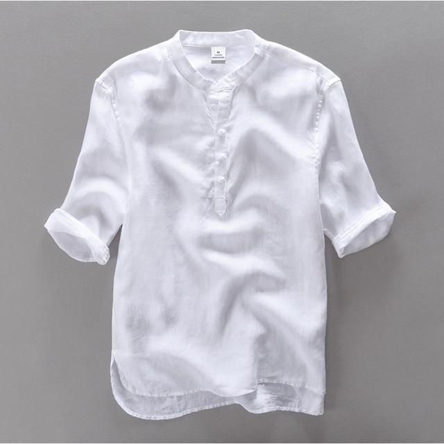 2016 marca clothing 100% lino hombres camiseta slim fit casual camisas de vestir de los hombres del verano camisa de manga corta para hombre camisa masculina camisa