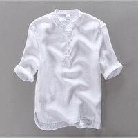 2016 Brand Clothing 100 Linen Men Shirt Slim Fit Casual Dress Shirts Men Summer Shirt Short