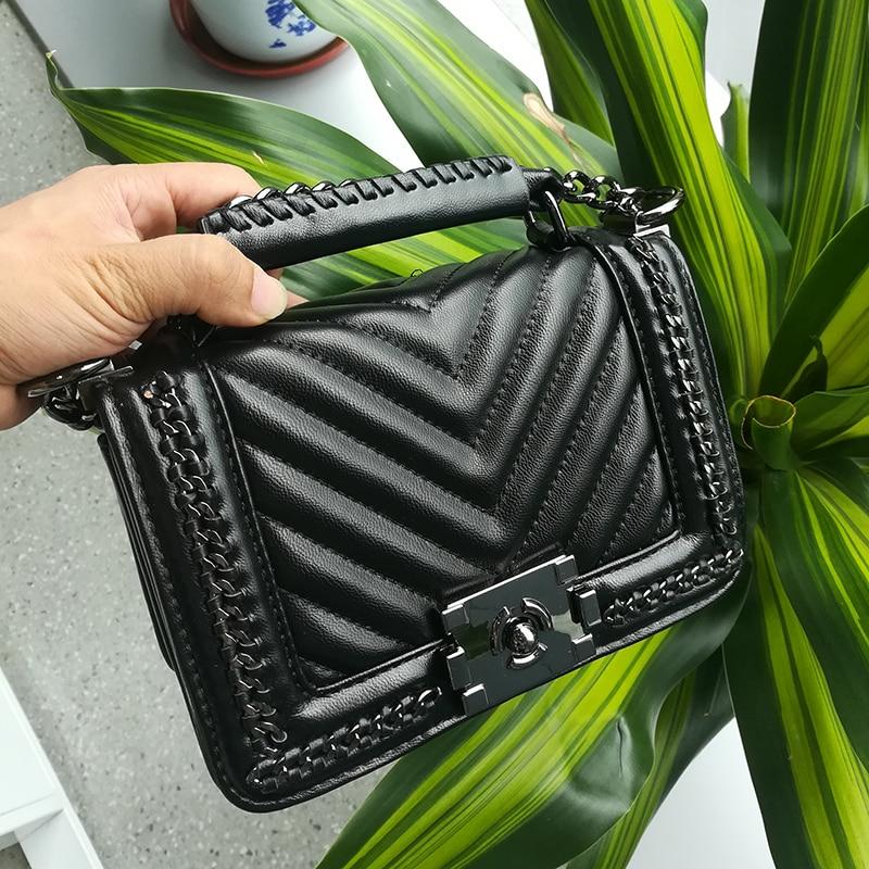 Новинка 2016 arriveal Лидер продаж женская сумка V тип искусственная кожа Женская мода сумки цепи Crossbody замок сумка