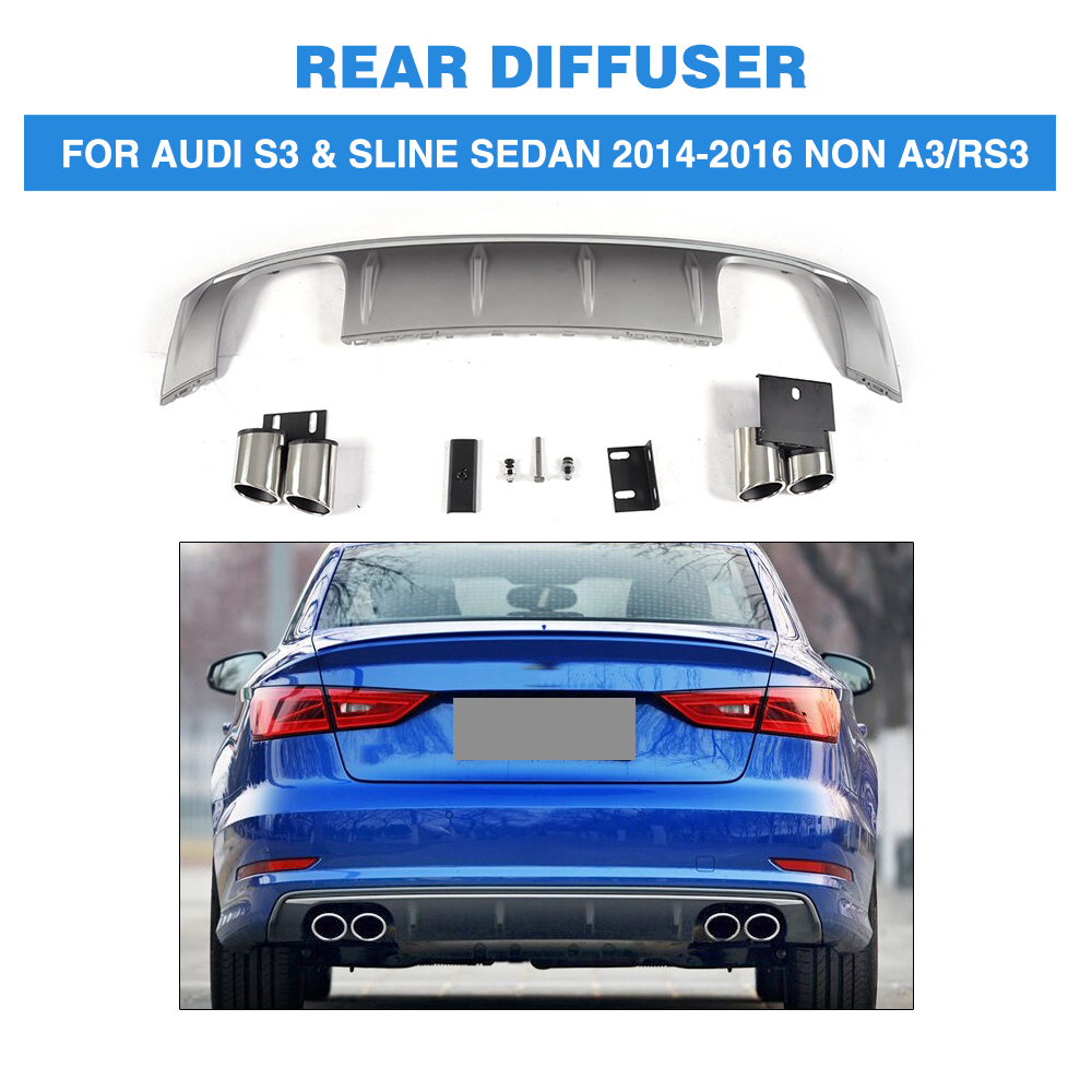 PP Car <font><b>Rear</b></font> Bumper <font><b>Diffuser</b></font> Lip With Exhaust Muffler For <font><b>Audi</b></font> S3 Sline Sedan 4 Door Non <font><b>A3</b></font> RS3 2014 - <font><b>2016</b></font> image