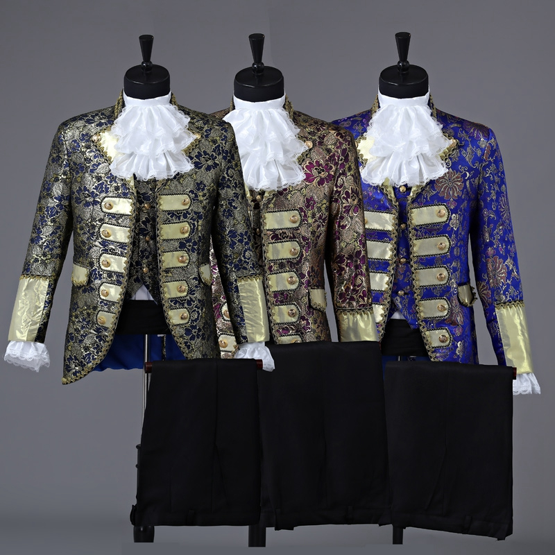 Freeship Medieval Renaissance Mens Suit Period Clothing Halloween Performance /Prince William /civil War/Colonial Belle Stage