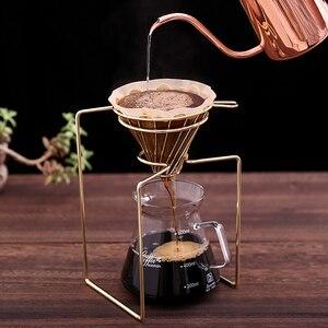 Image 2 - Filtros de café cafetera gotero geométrico, reutilizable vierta sobre el soporte de filtro de café, cesta de filtro permanente