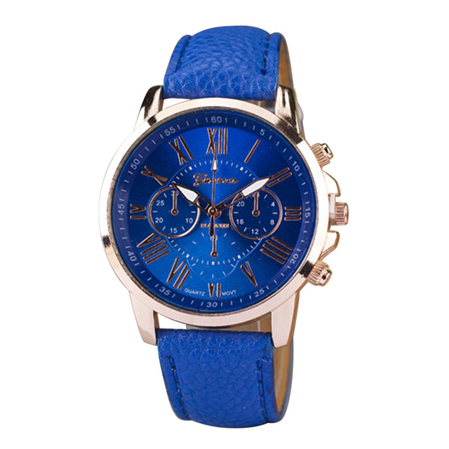 2018 Fashion Candy Color Roman Numerals Couple Watches PU Band Analog Quartz Wat
