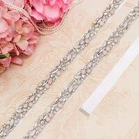 MissRDress Silver Crystal Wedding Belts Handmade Opal Bridal Belt Rhinestones Bridal Sash For Wedding Prom Gown JK920