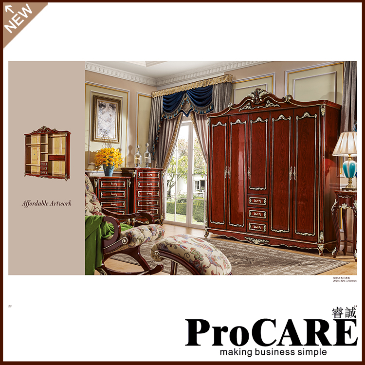 Luxury Ivory White Unique Hand Carved Classical French European Style 5 Door MDF Wooden Bedroom Wardrobe