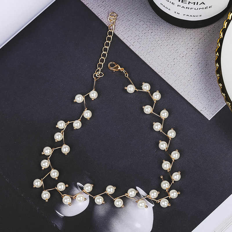 68efd1f96 ... Ltumbe New Arrival Simulated Pearl Necklaces Pendants 2 Color Small  Ball Clavicle Chain Necklaces Women Bridal ...