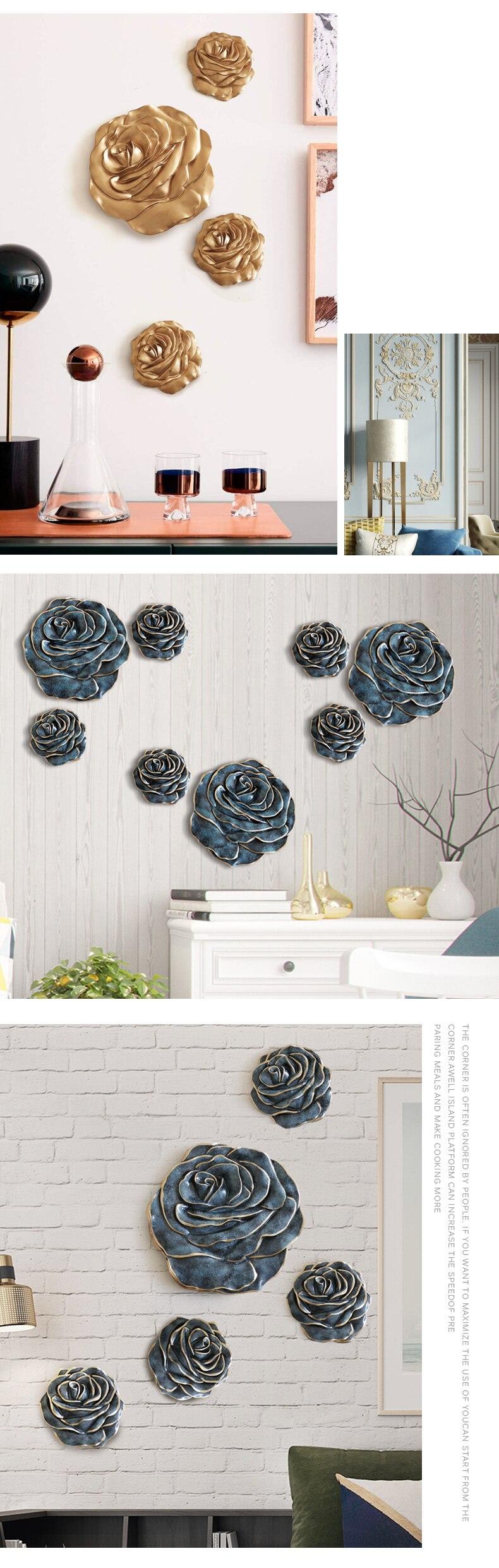3d adesivos de parede resina rosa flor