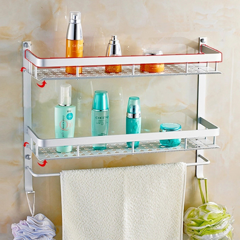 40 50cm 2 tier space aluminum thick widened bathroom shelf - 2 tier bathroom shelf with towel bar ...