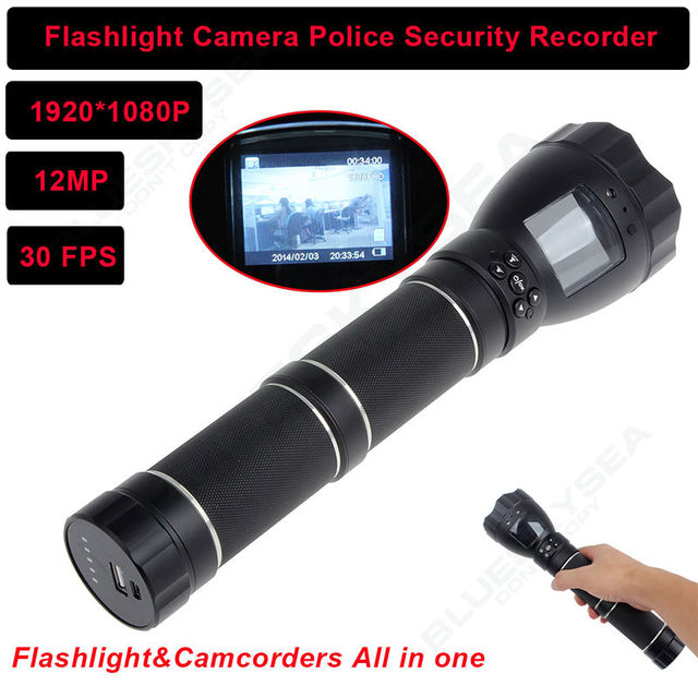Free shipping!POLICE Tactical LED Flashlight DVR Camera IR Night Vision 1080P HD Video
