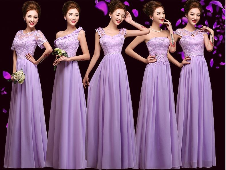 Short Purple Lace Bridesmaid Dresses