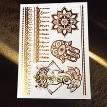 25 Styles Waterproof Flash Hamsa Hand Tattoo Gold Elephant Mandala Flower Tatoo Body Art Fake Metallic Temporary Tattoo Stickers