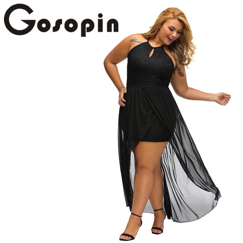 Gosopin Plus Größe Schwarz Spitze Partei kleid Backless Kleid Frauen ...