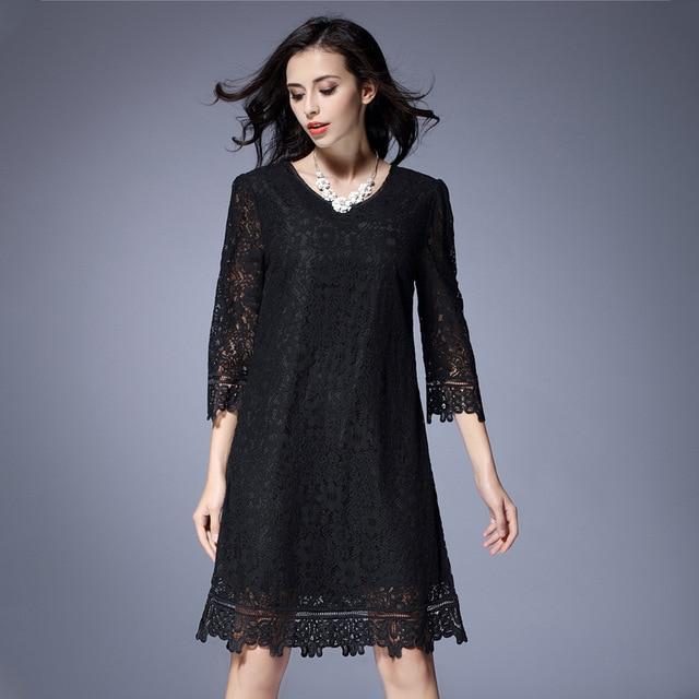 0cd13c77b01 Plus Size Lace Hollow Black Dress For Women Fashion V-neck Three Quarter  Loose Show Slim One Piece Dresses Female