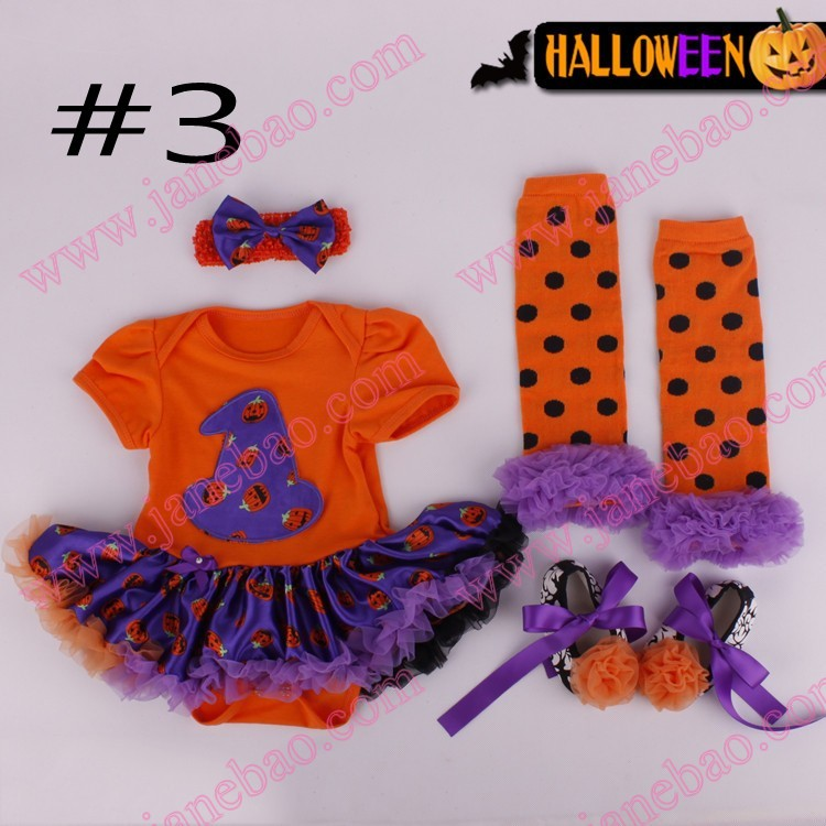 Free Shipping 3set Girls Clothing Halloween Boutique Baby Girls Pumkin Skirts Girls Halloween Party Clothes With Accessories