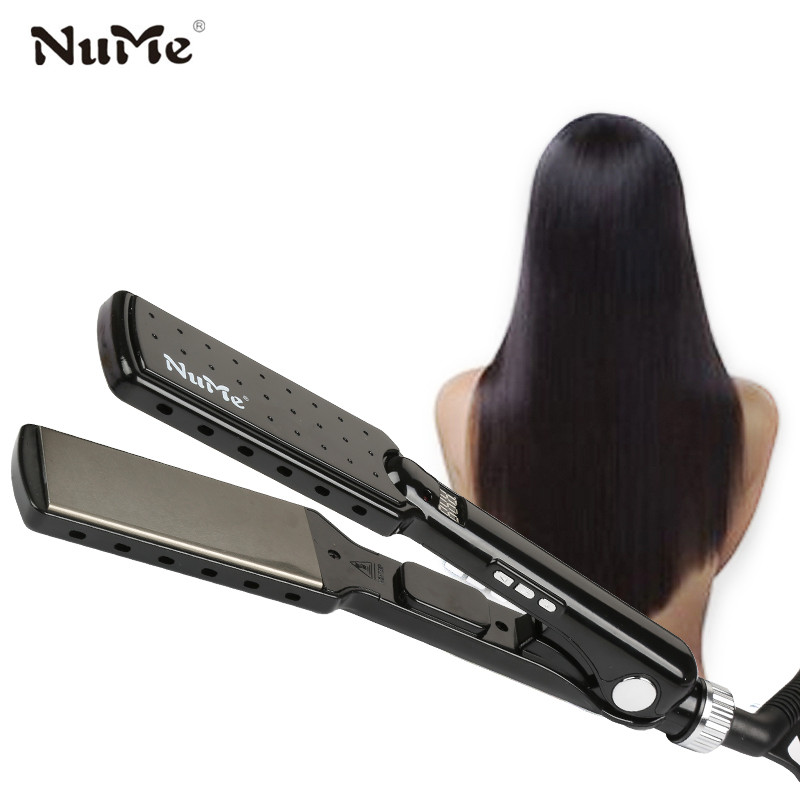 Titanium Plate Hair Straightener Wide Plate Curling Iron MCH Heater Lonic Straightening Iron Salon Styling Tools Digital Display mch flexible 3d floating ceramic wide plates flat iron far infrared hair straightener straightening curling with negative ions