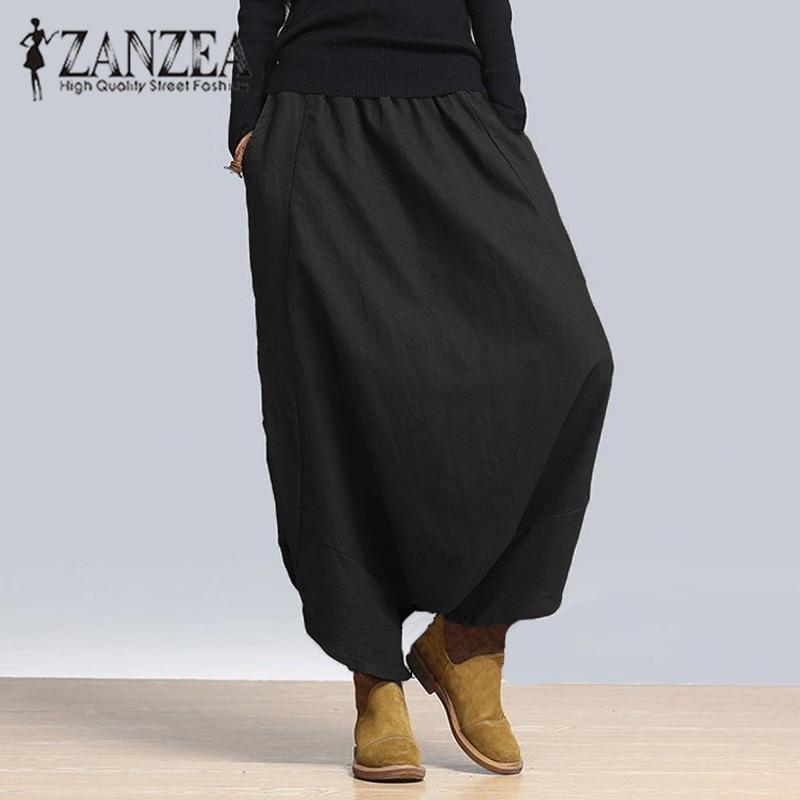 Zanzea 2017 Womens Casual Elastic High Waist Loose Capris Harem Baggy Cross-pants Bloomers Pant Long Trousers Crotch Pants