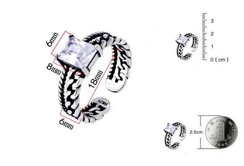 VINTAGE tricolor 925 เงินสเตอร์ลิง Zircon เปิดแหวน Twisted CHAIN แฟชั่นสีดำ Auger เงินไทยแหวน S-R01
