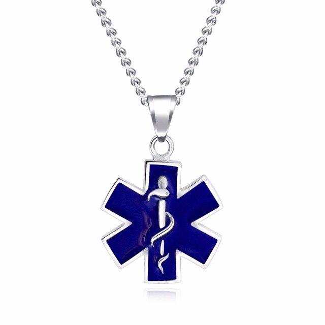 Star Of Life Snake Emblem Pendant Necklace 2 Color Hexagram Necklace